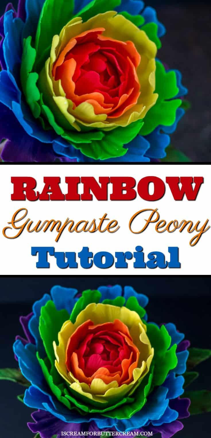 Rainbow Gumpaste Peony Pinterest Graphic