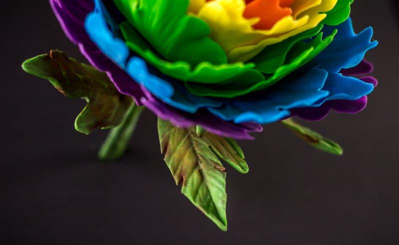 Rainbow Gumpaste Peony Leaves Close up