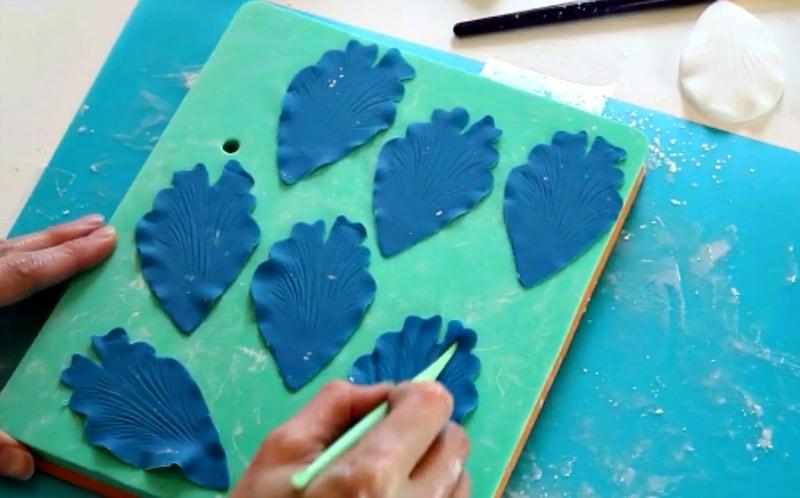 Veining blue gumpaste peony petals