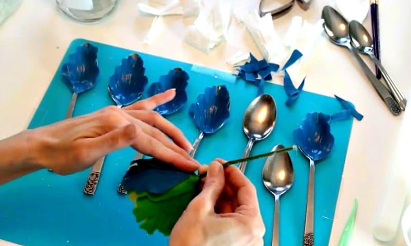Attaching blue gumpaste peony petals to base