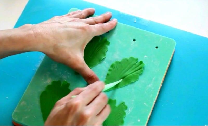 Veining green gumpaste peony petals