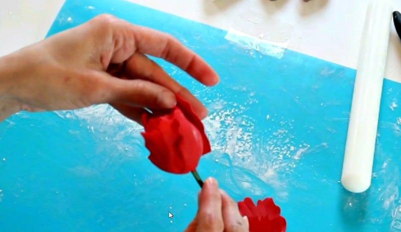 Attaching gumpaste peony petals