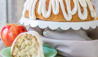 Moist Apple Coconut Cake with Cinnamon Cream Cheese Glaze