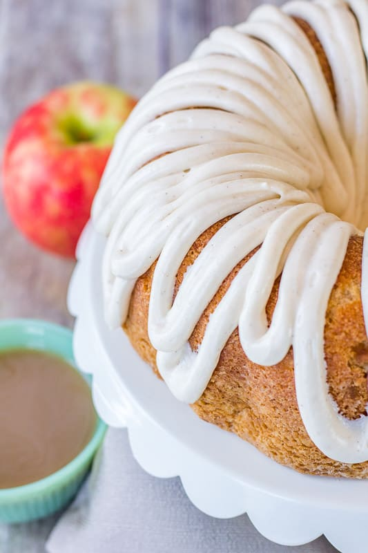 bundt cake with glaze top down view with coffee cup