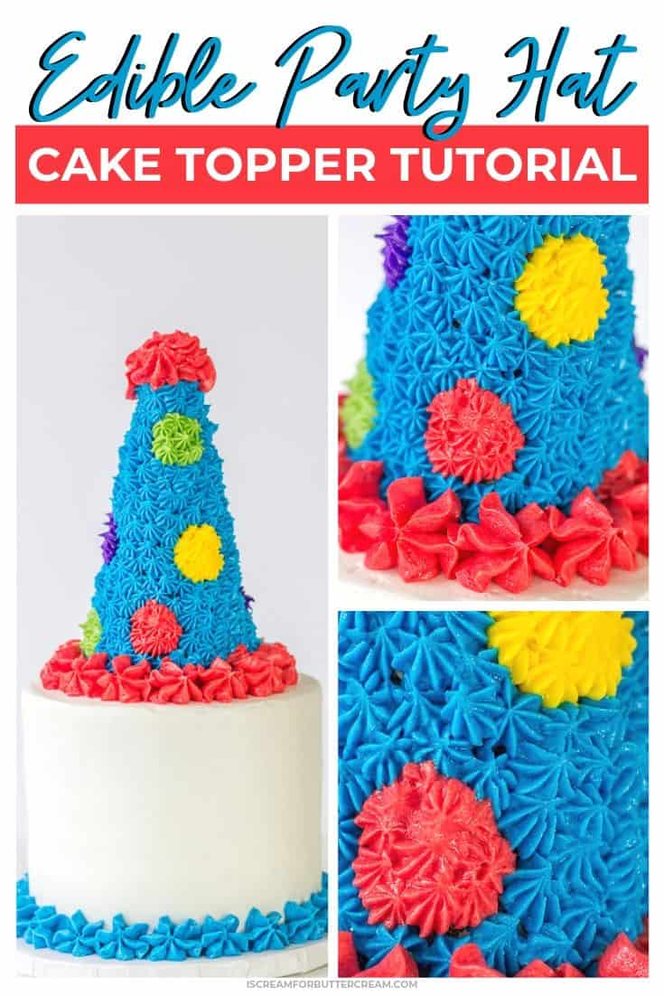 Edible Party Hat Cake Topper Tutorial Pin Graphic 1