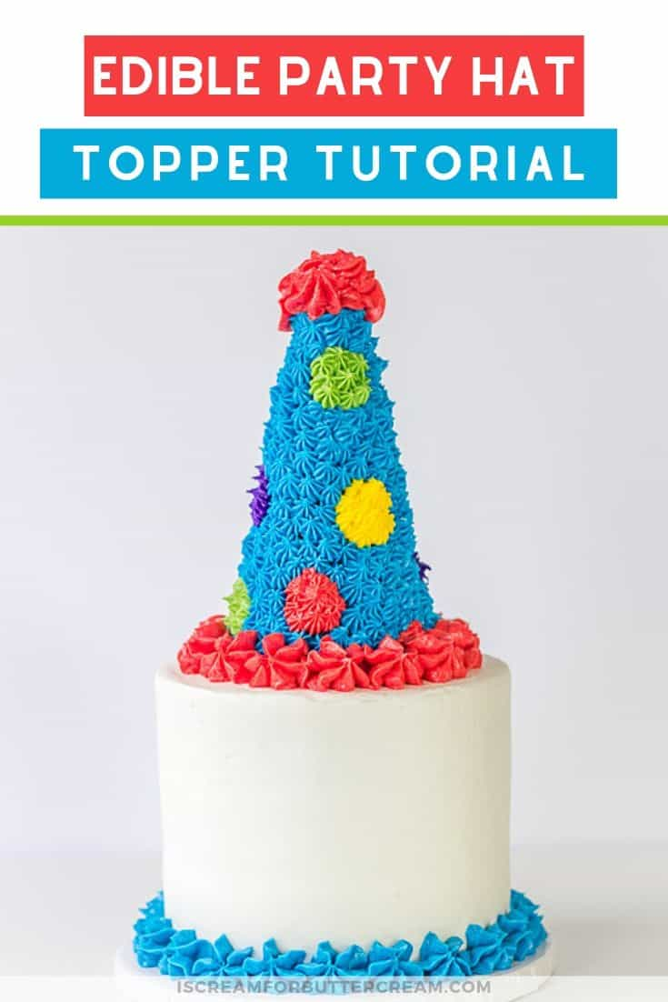 Edible Party Hat Cake Topper Tutorial Pin Graphic 2