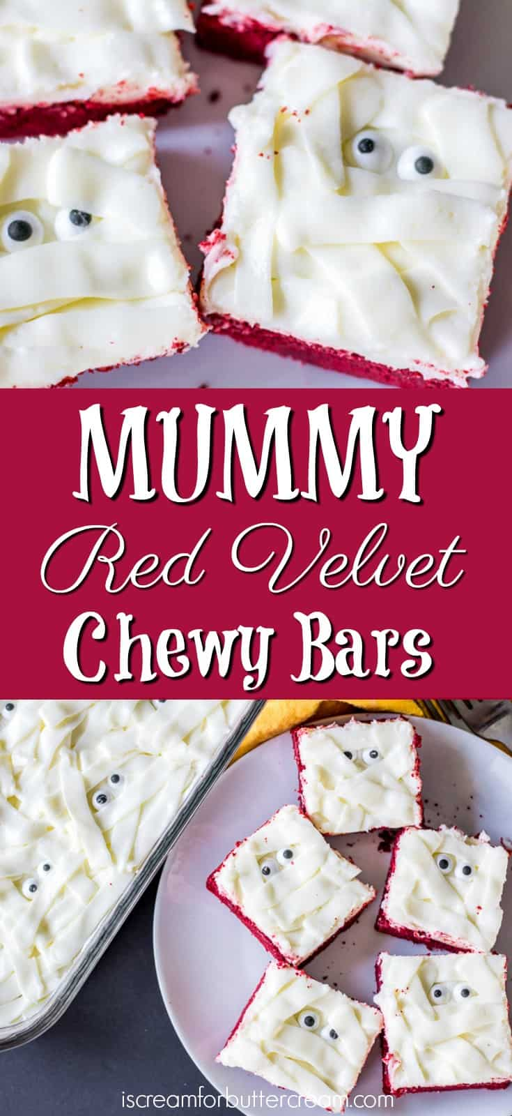 Mummy Red Velvet Chewy Bars Pinterest Graphic