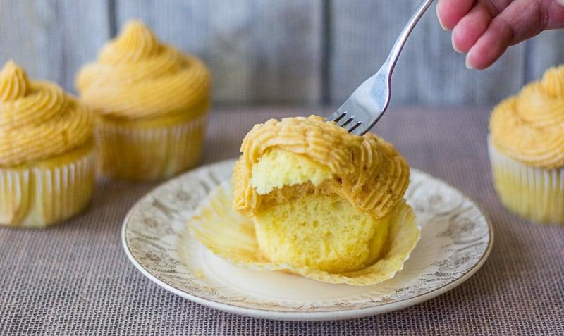 Pumpkin Buttercream on cupcake with fork