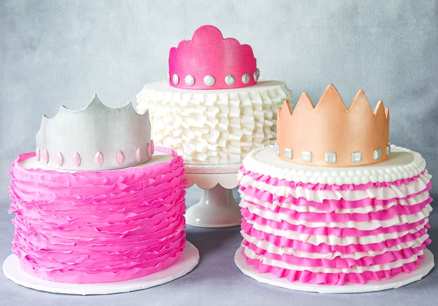 Fondant ruffle cakes with gumpaste crowns