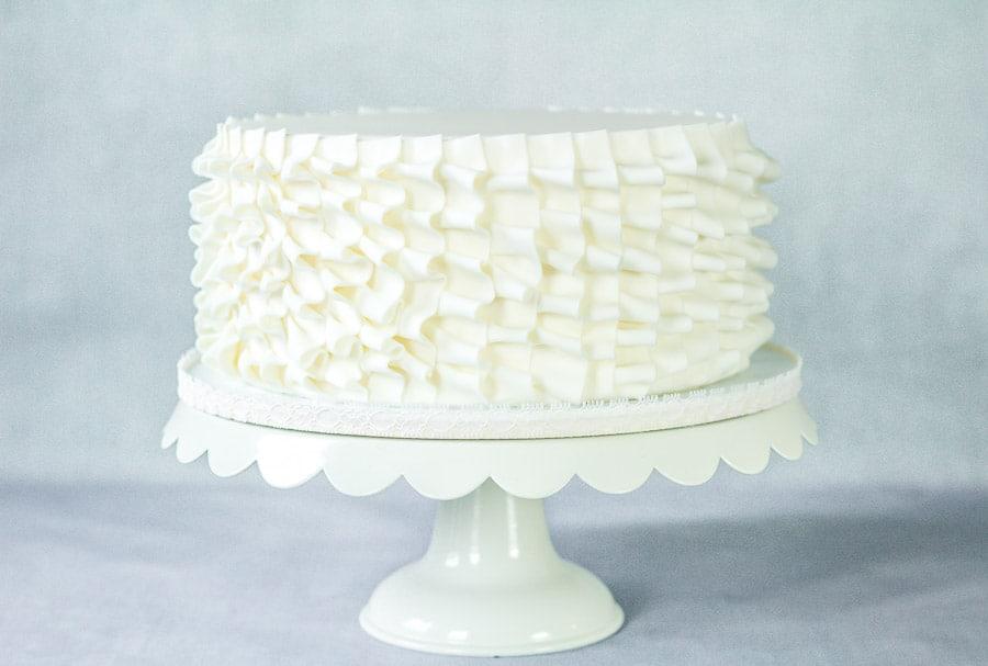 White vertical ruffle cake
