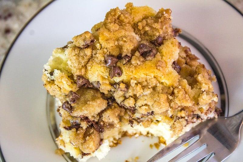 Top view of Cannoli Crumb Cake