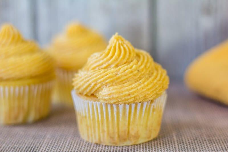 cupcake with pumpkin buttercream on top