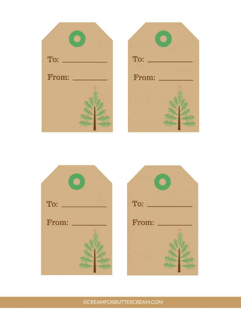 Free Printable Tags for Food Gifts brown Christmas tree tags