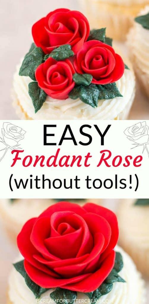 easy fondant rose pinterest graphic