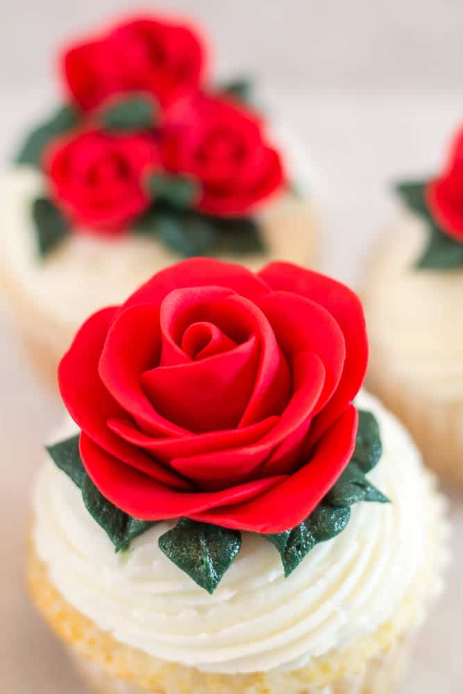 top view of easy fondant rose on cupcake