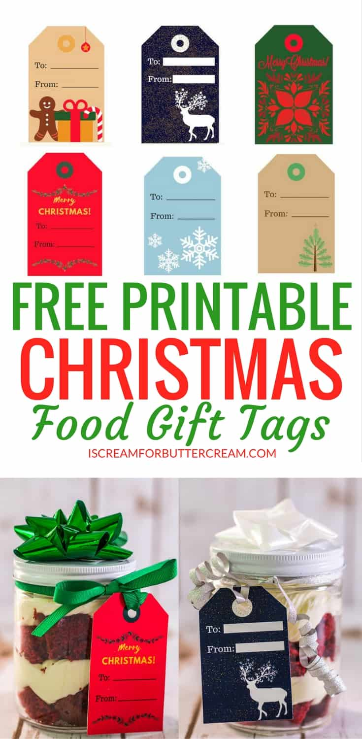Want an easy way to add a homeade touch to your Christmas gifts this year? Grab these free printable tags for food gifts. Just print them on cardstock, cut out, punch a hole and add some ribbon or twine. Easy peasy. #foodgifts #christmasfoodgifts #printabletags #gifttags