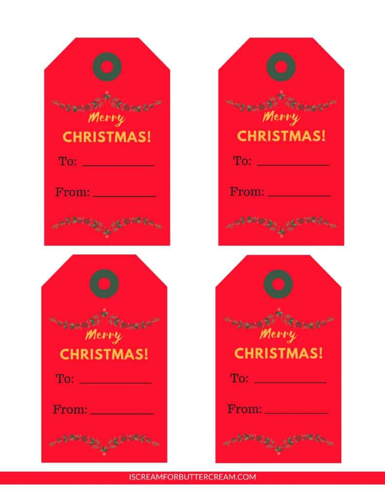 Free Printable Tags for Food Gifts Red Tags