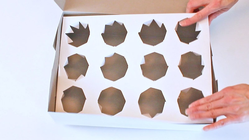 adding the cupcake box insert into the box