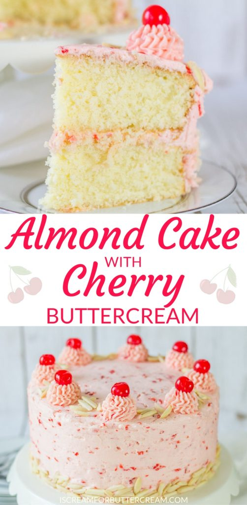 Almond Cake with Cherry Buttercream Pin Graphic