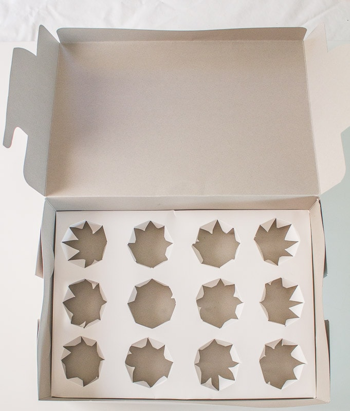 DIY cupcake inserts open box