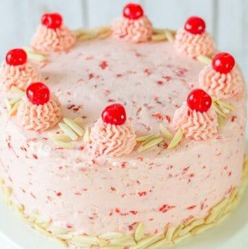 Almond Cake with Cherry Buttercream
