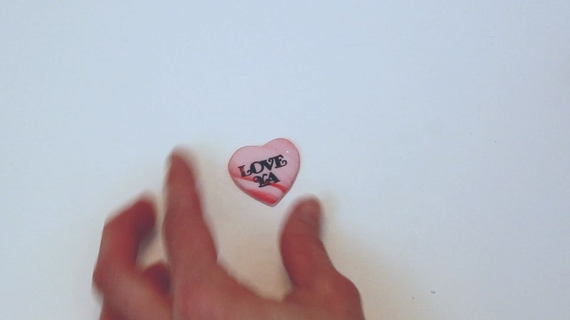 stamped fondant heart