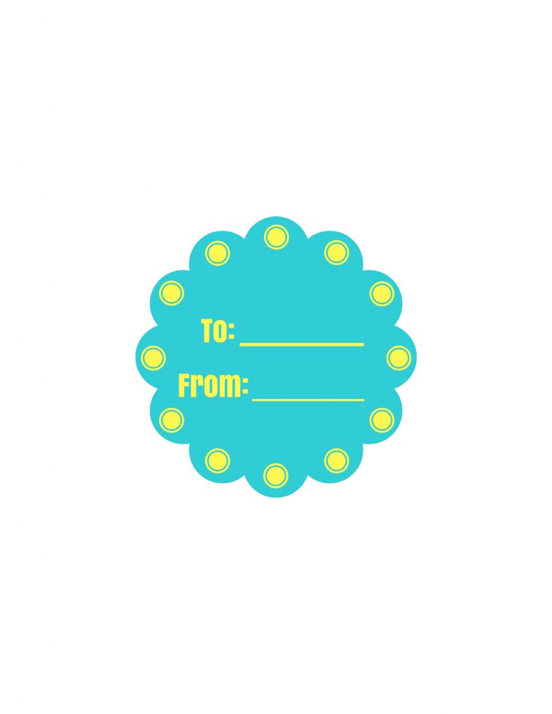 teal and yellow printable label pic