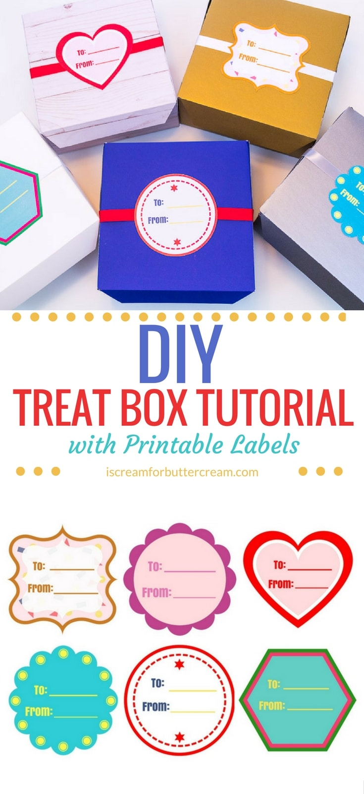 When you've baked something for someone, you may not always have a box handy. These treat boxes are so easy to make. You only need poster board and a few other items. I've even included six downloadable labels that can be printed out and used with them. #diyboxes #printablelabels #treatboxes
