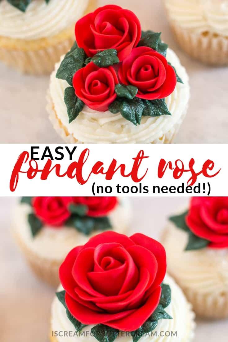 Easy Fondant Rose no tools needed