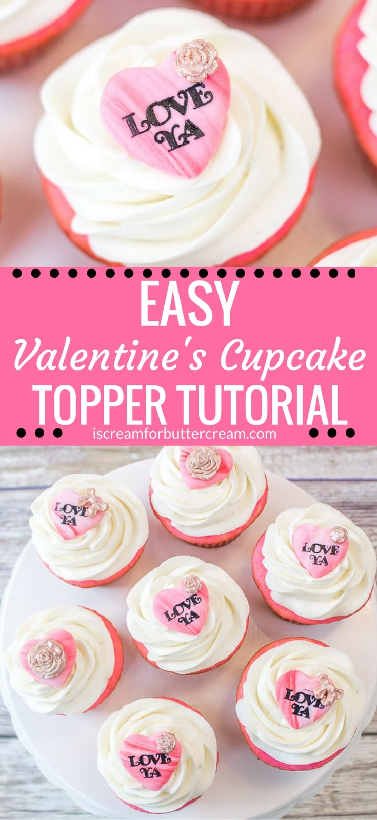 Maybe you don't have a lot of time on your hands, but you still want to make something cute for Valentine's Day.These Valentine's Cupcake Toppers are so easy to make and the nice thing is that you can make them ahead of time. Just pop them on your cupcakes before you serve them. #valentinescupcakes #heartcupcaketoppers #fondanttutorial #cupcakedecorating
