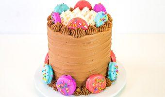 Oreo chocolate cake with candy dipped oreos