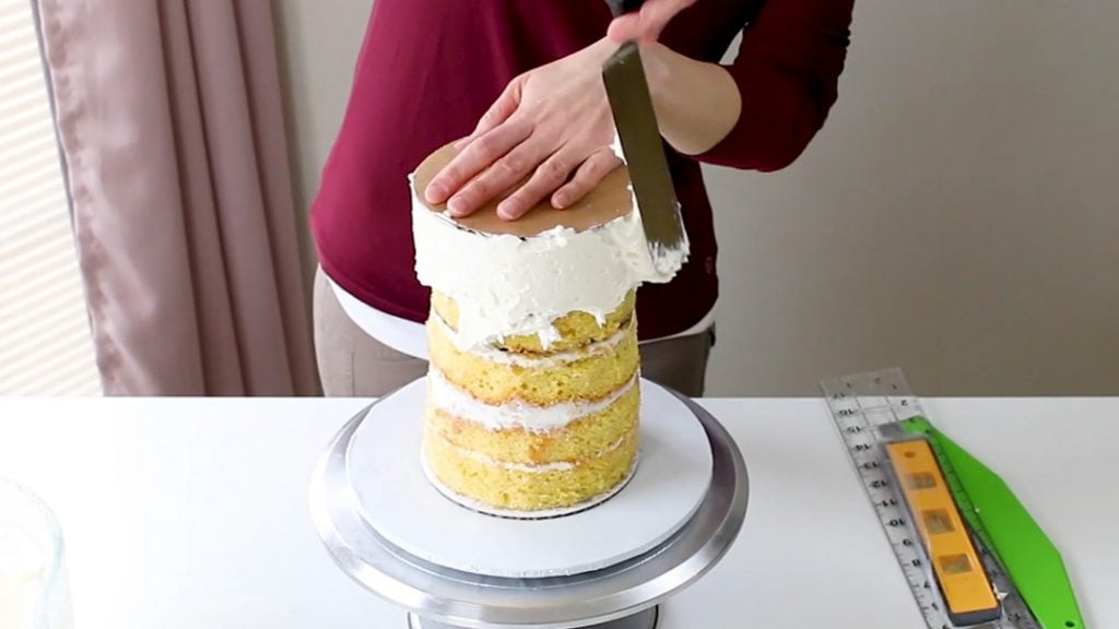 Adding Buttercream To Tall Cake