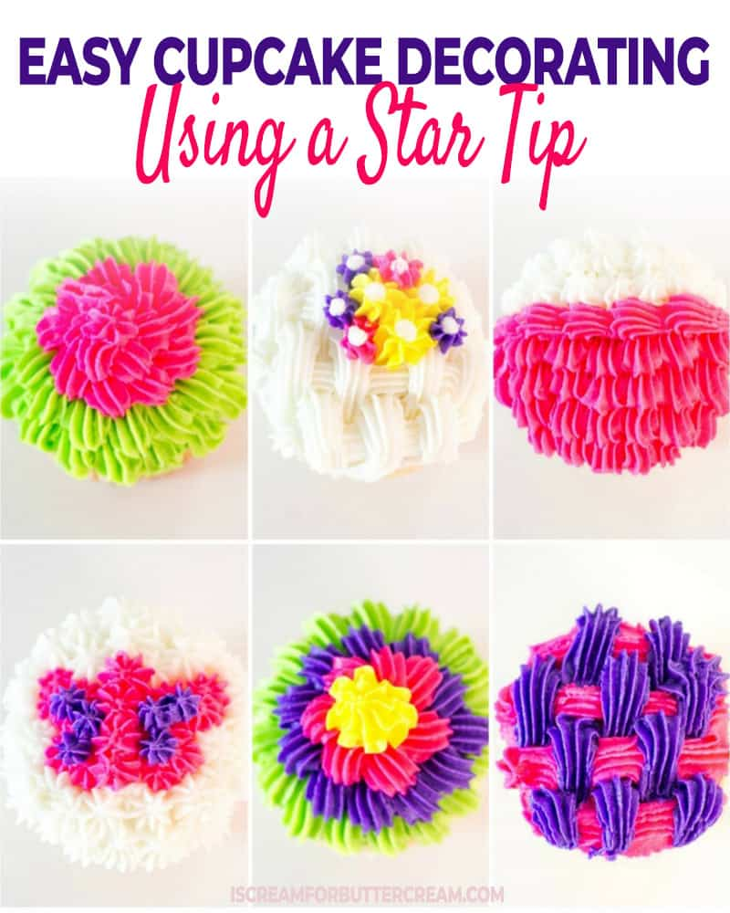 Easy Cupcake Decorating using a star tip post title graphic
