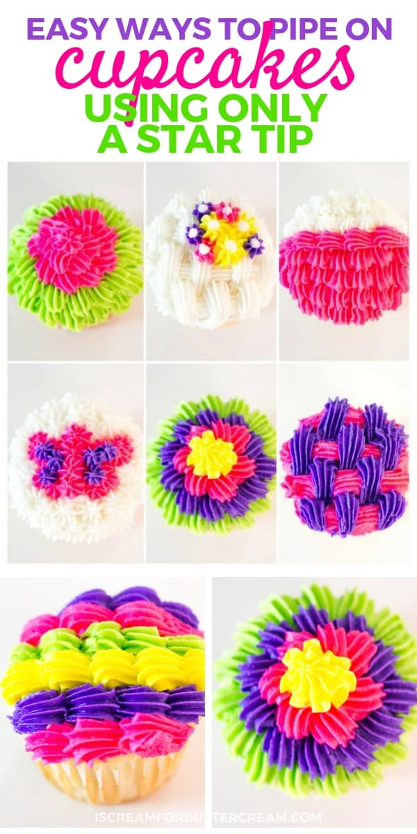 Easy Ways to Pipe on Cupcakes Pinterest Graphic