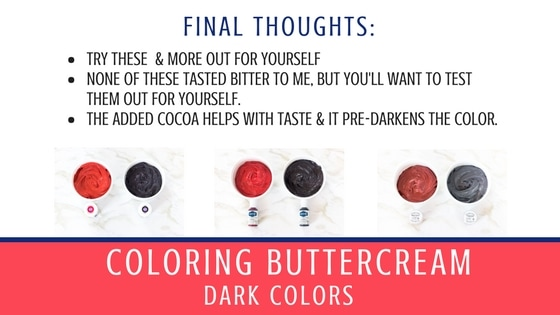 Final Thoughts Graphic on Coloring Dark Buttercream
