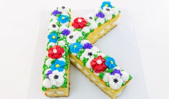 Floral Initial Cake (Cream Tart Style)