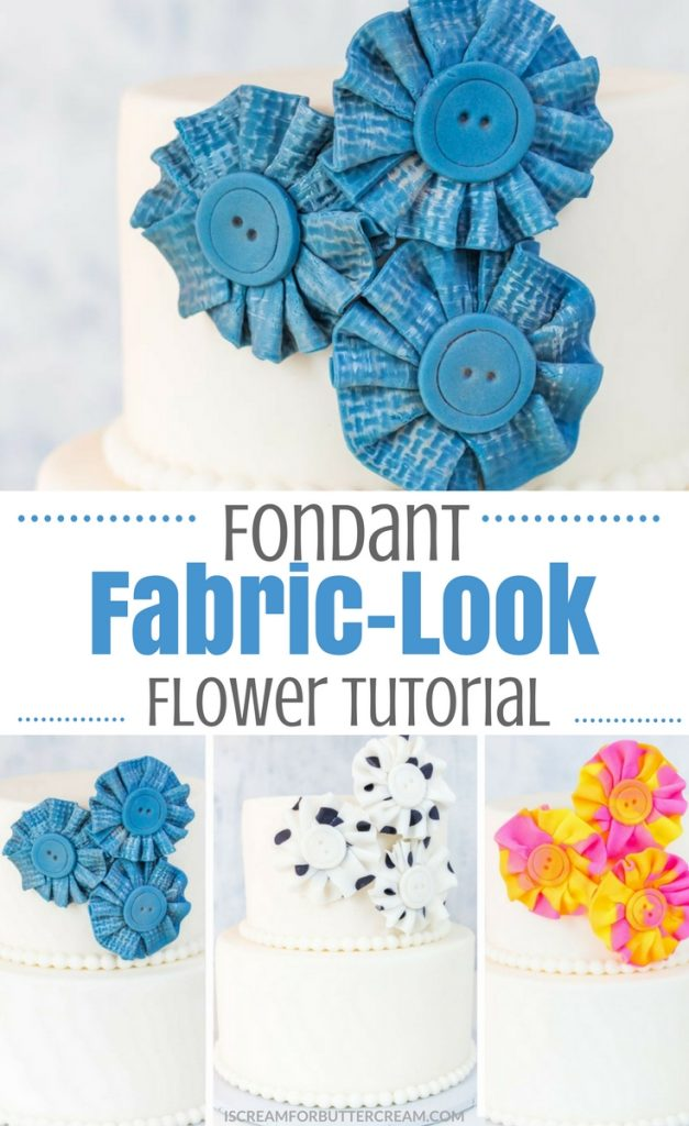 Fondant Fabric Look Flower Pin 2