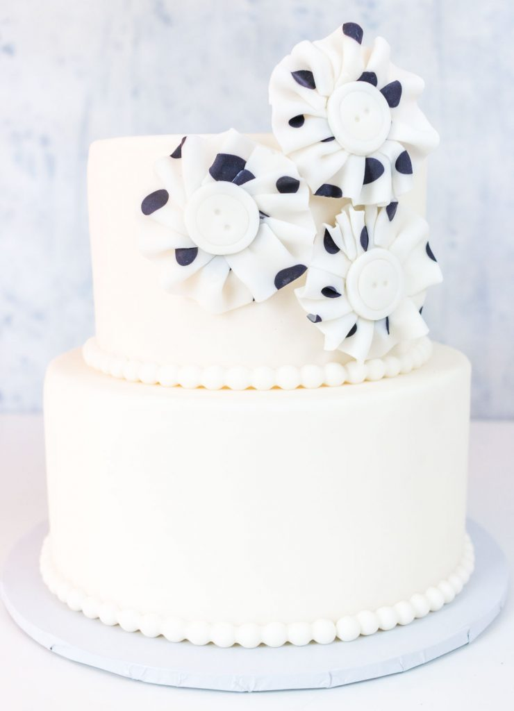 Two tiered cake with polka dot fondant fabric look flowers