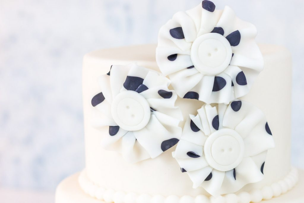 Polka Dot Fondant Fabric Look Flowers