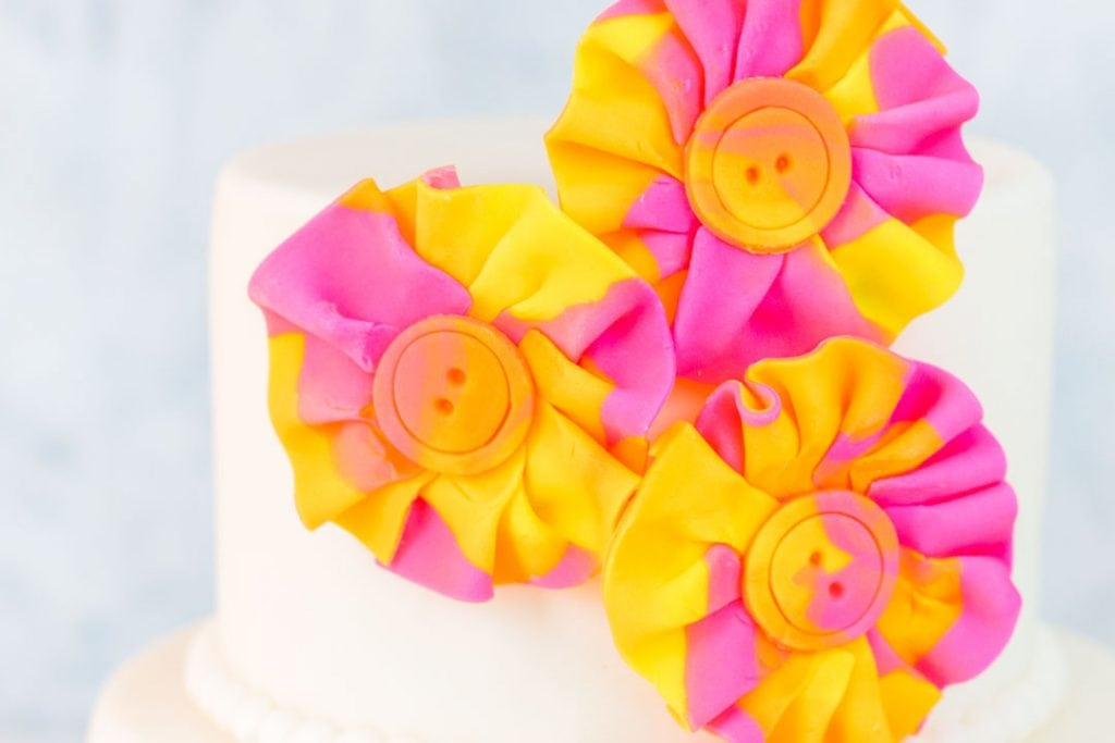 Close up of watercolor fondant fabric look flowers