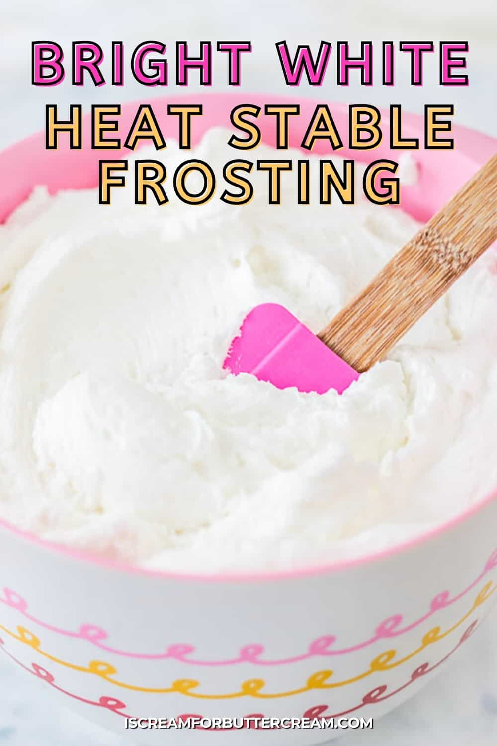 white icing in a pink bowl with text overlay