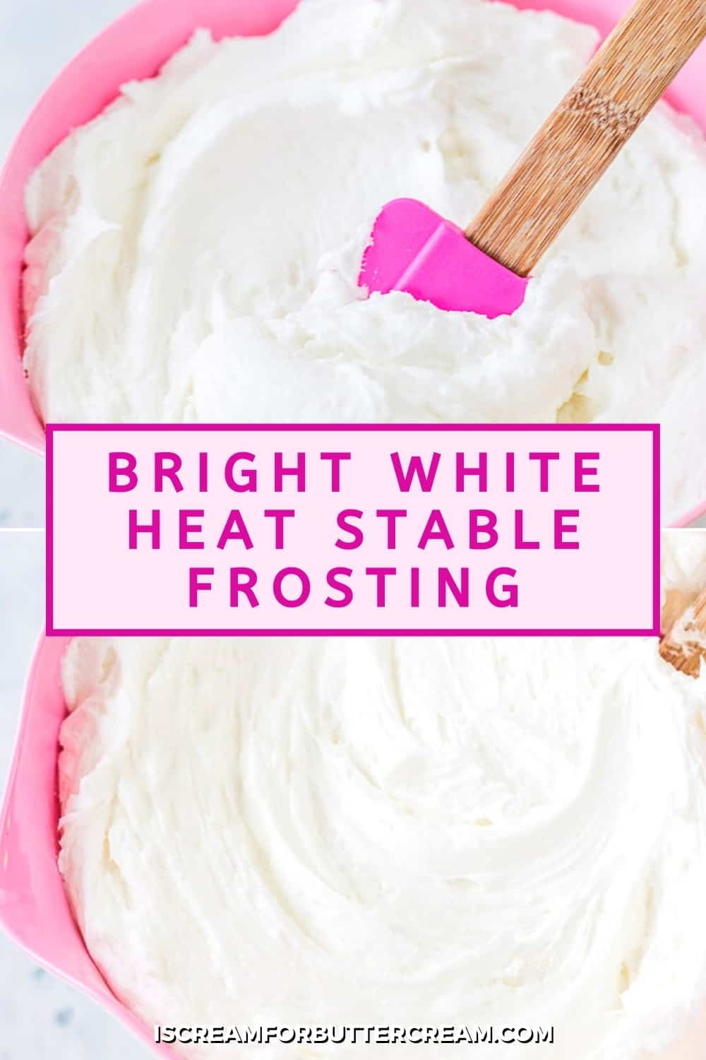 bright white frosting with text overlay pin graphic