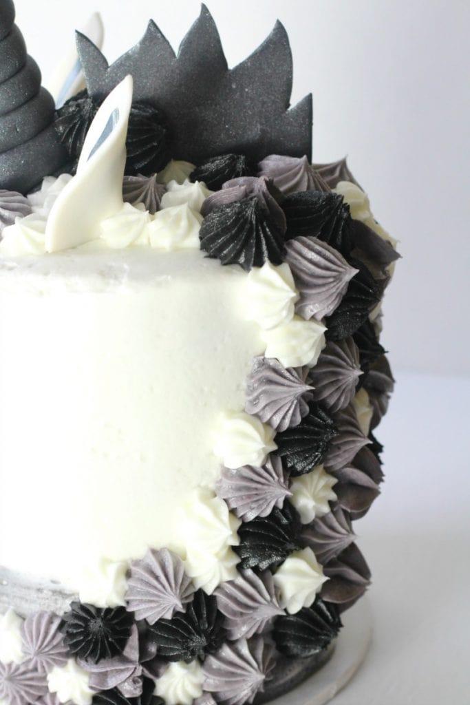 Back view of unicorn cake