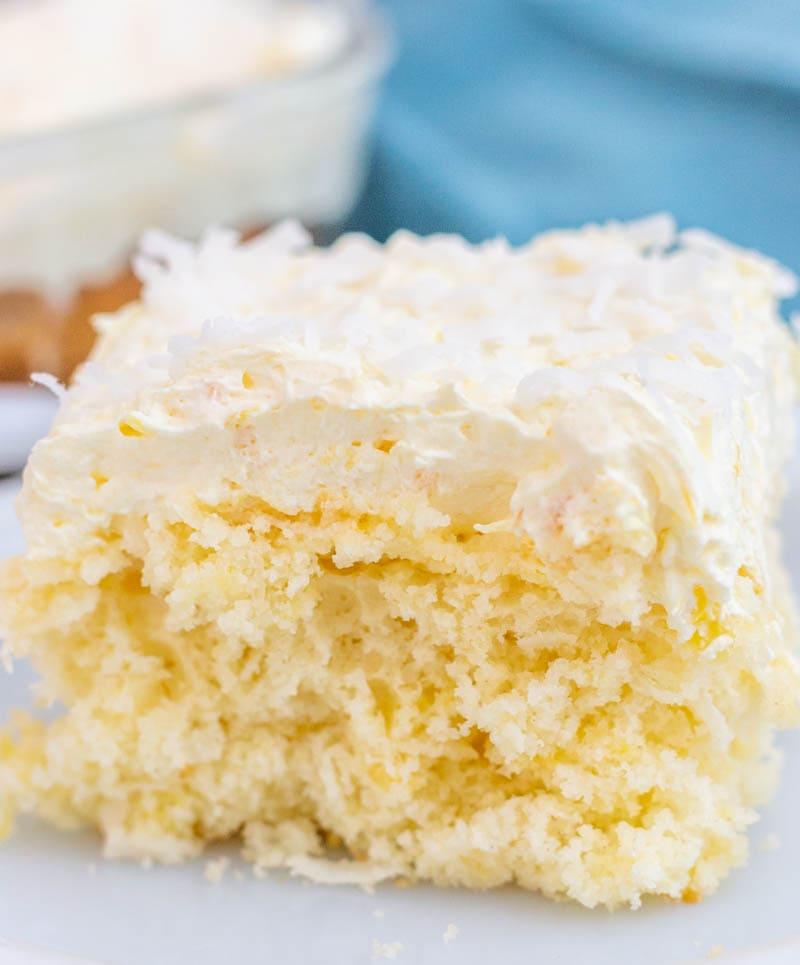 Pina Colada Cake Bar Close up on a white plate