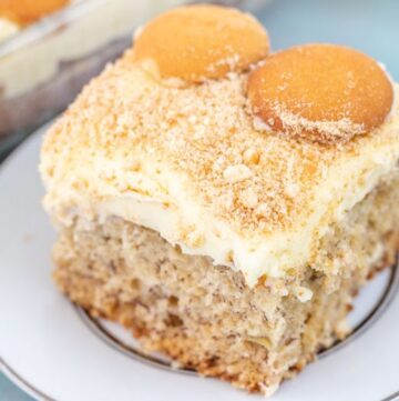 top view of banana pudding cake on a plate