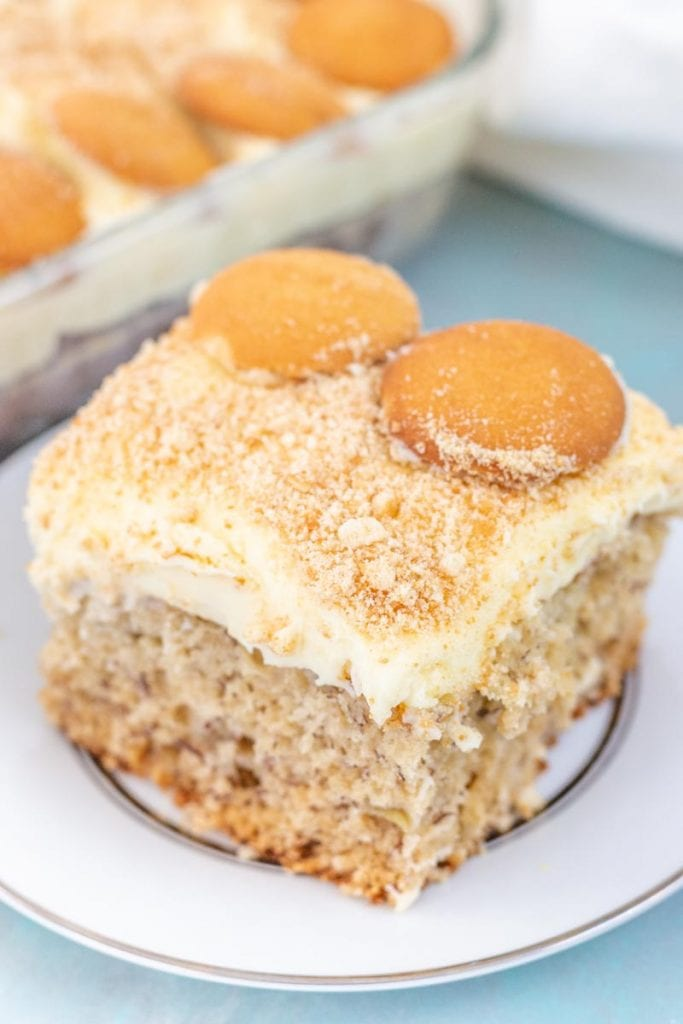 slice of banana pudding cake on a plate