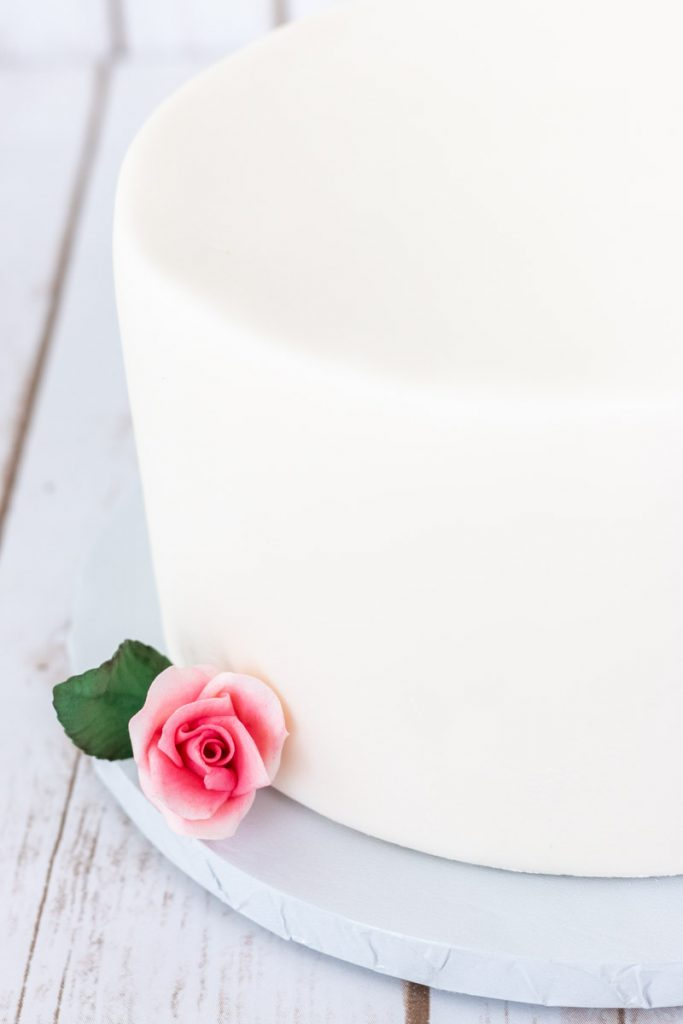 Side view of fondant covered cake