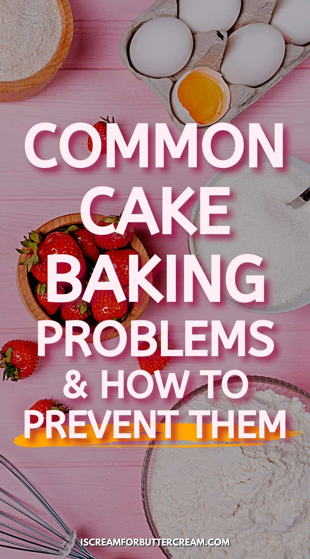 cake baking ingredients with text overlay pin graphic