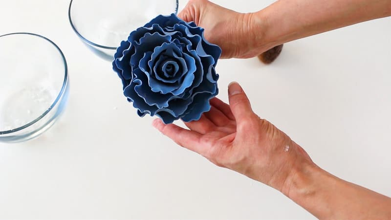 adjust the petals on the gumpaste rose