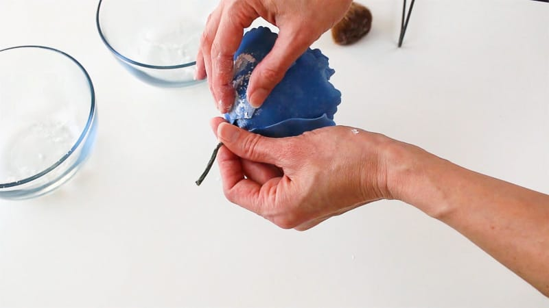 attach gumpaste petals to rose
